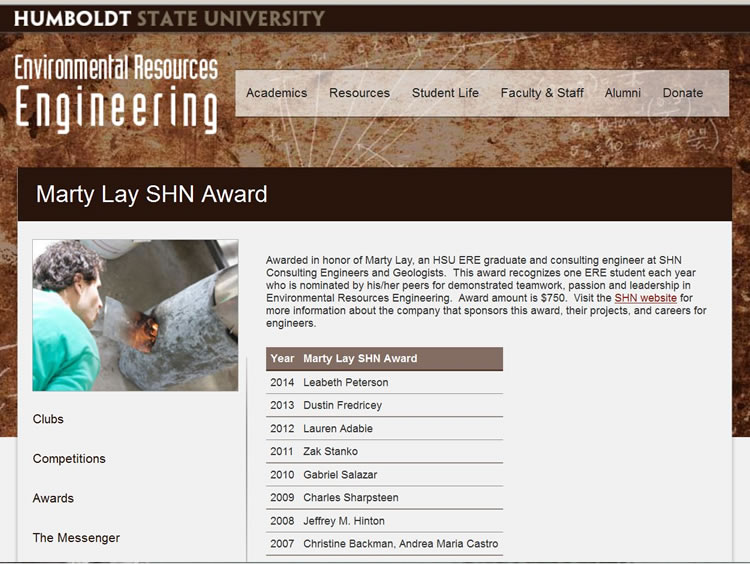 Screenshot from Humboldt State University describing the Marty Lay SHN Award
